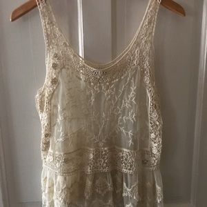 Express Cream White Lace Tank Top